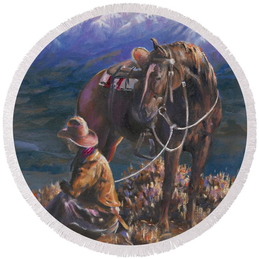 Cowboys Round Beach Towel featuring the painting God's Country by Mia DeLode