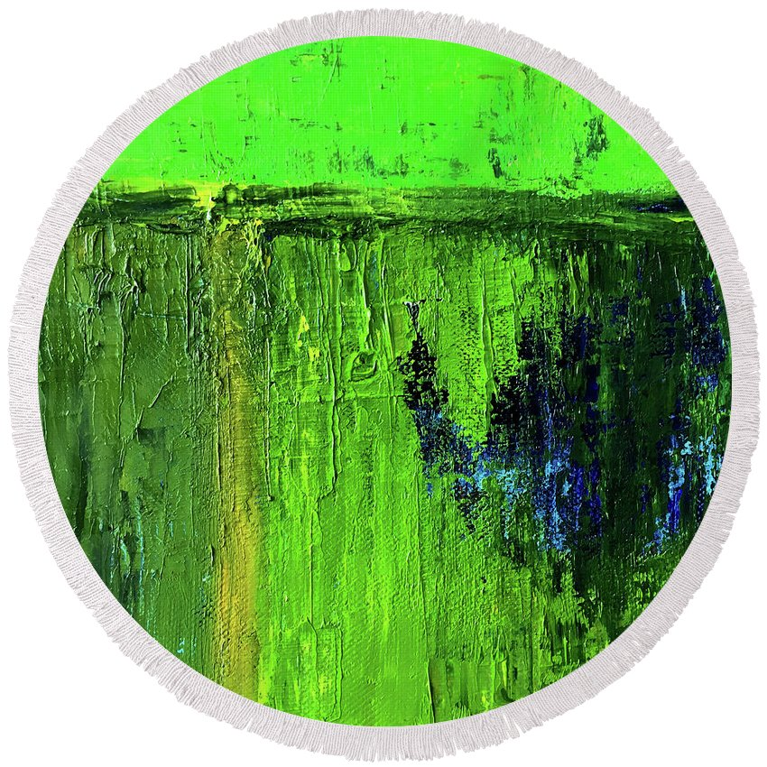 Large Green Abstract Round Beach Towel featuring the painting Going Green by Nancy Merkle
