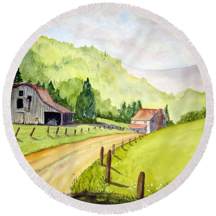 Barns Round Beach Towel featuring the painting Going Home by Julia RIETZ