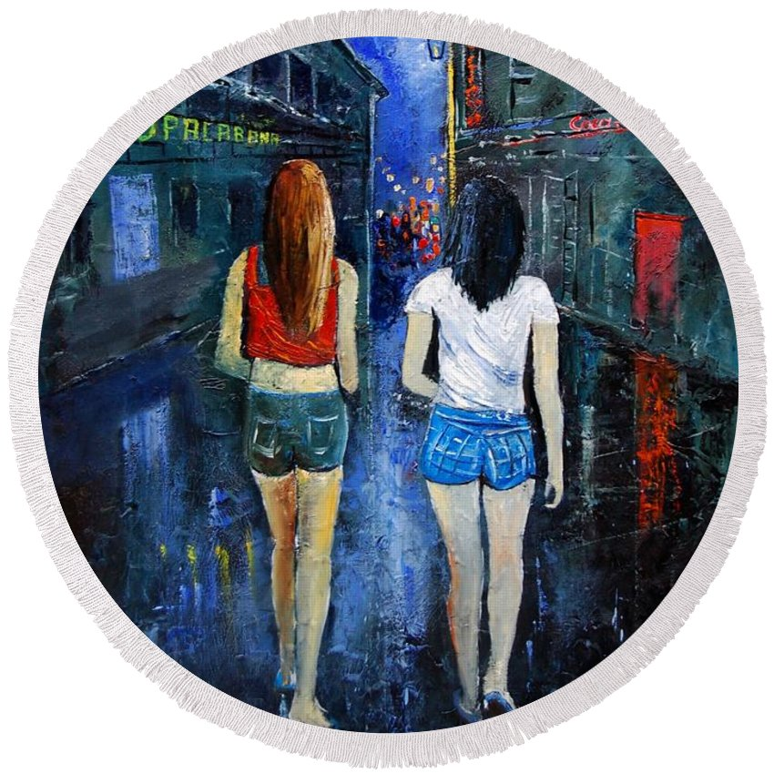 Girl Round Beach Towel featuring the painting Going Out Tonight by Pol Ledent