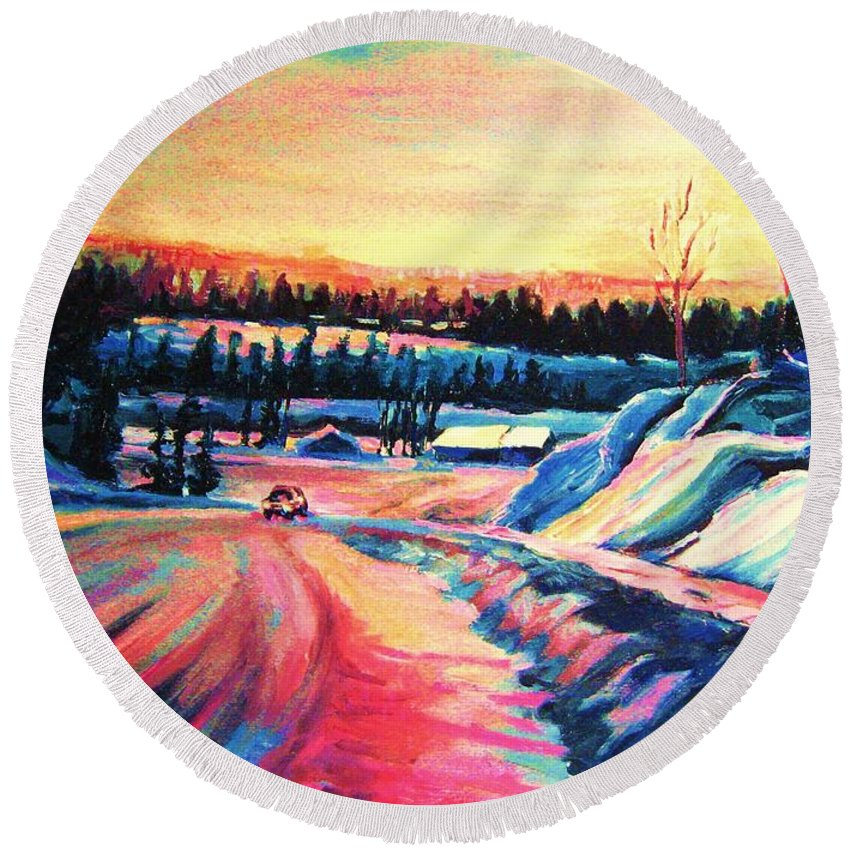 Winterscene Round Beach Towel featuring the painting Going Places by Carole Spandau