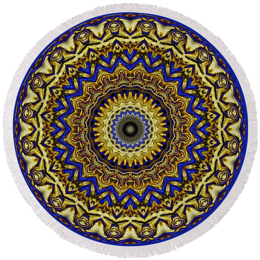 Gold Round Beach Towel featuring the digital art Gold And Sapphires by Joy McKenzie