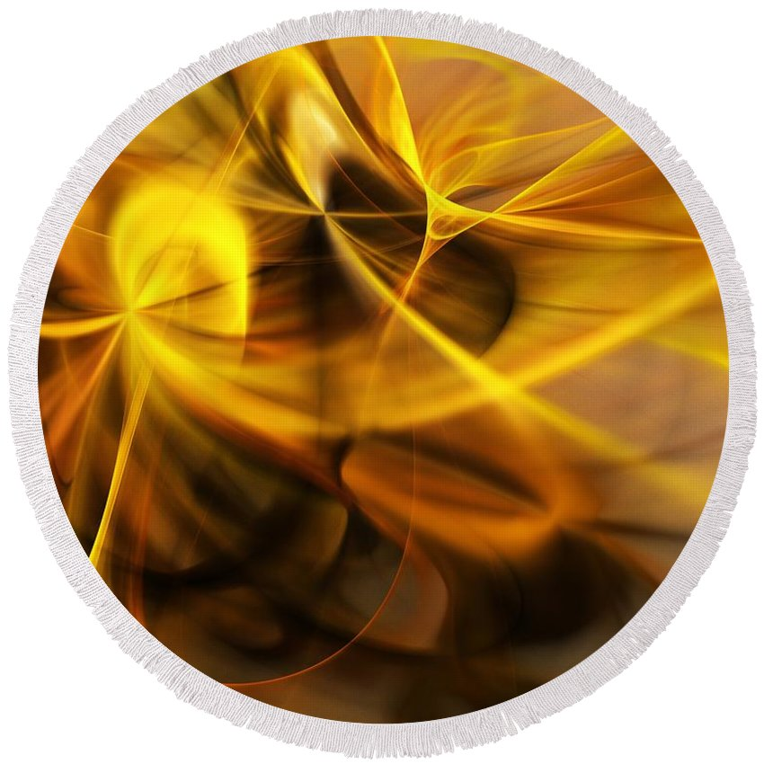 Fractal Round Beach Towel featuring the digital art Gold and Shadows by David Lane