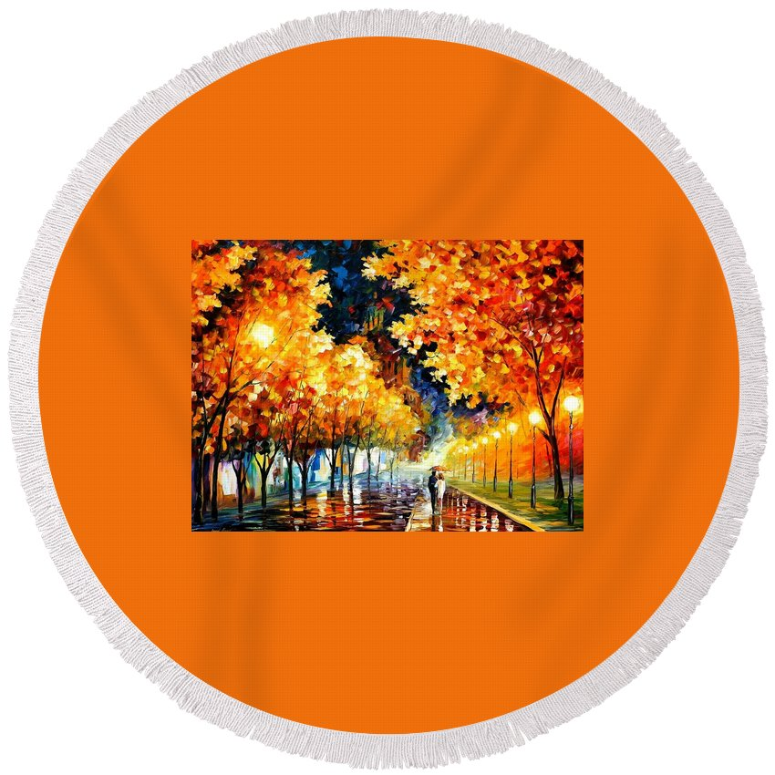 Afremov Round Beach Towel featuring the painting Gold Boulevard by Leonid Afremov