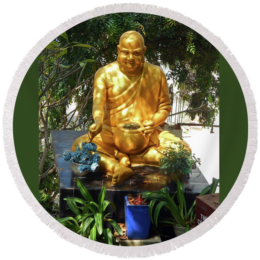 Phu My Round Beach Towel featuring the photograph Gold Buddha 4 by Ron Kandt