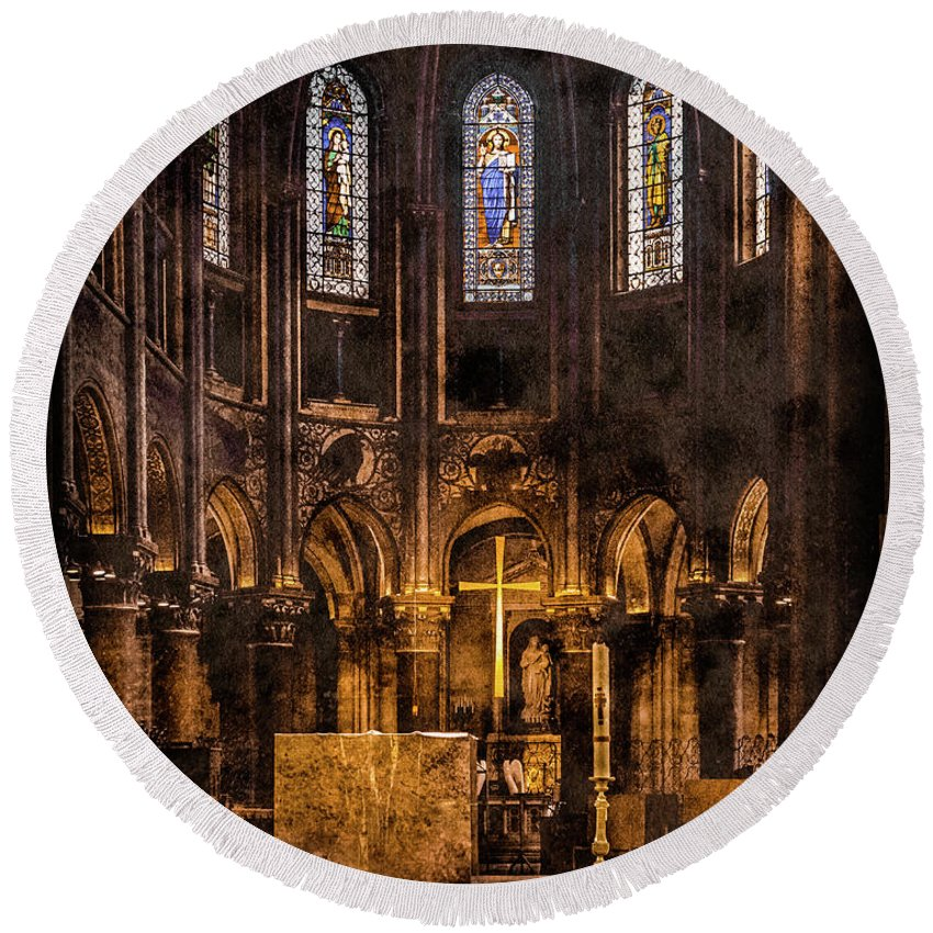 Paris Round Beach Towel featuring the photograph Paris, France - Gold Cross - St Germain Des Pres by Mark Forte