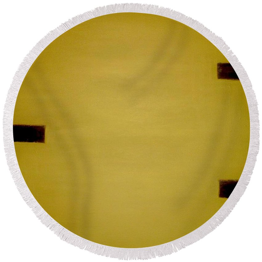 Abstract Round Beach Towel featuring the painting Gold Elegance by Catalina Walker
