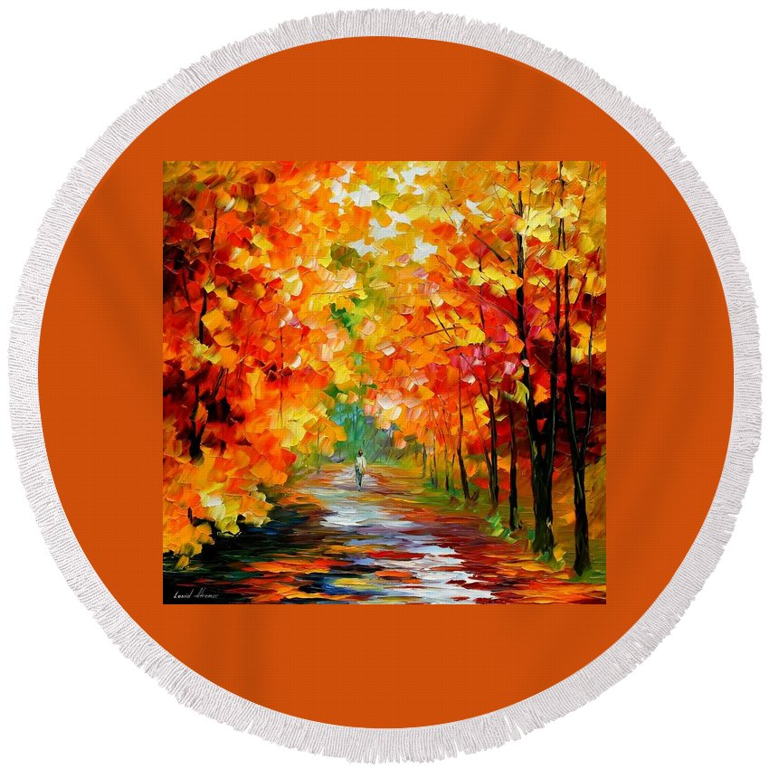 Afremov Round Beach Towel featuring the painting Gold Expanse by Leonid Afremov