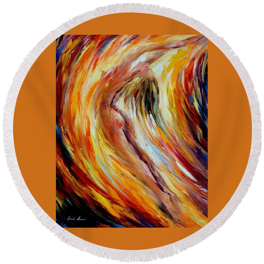 Nude Round Beach Towel featuring the painting Gold Falls by Leonid Afremov