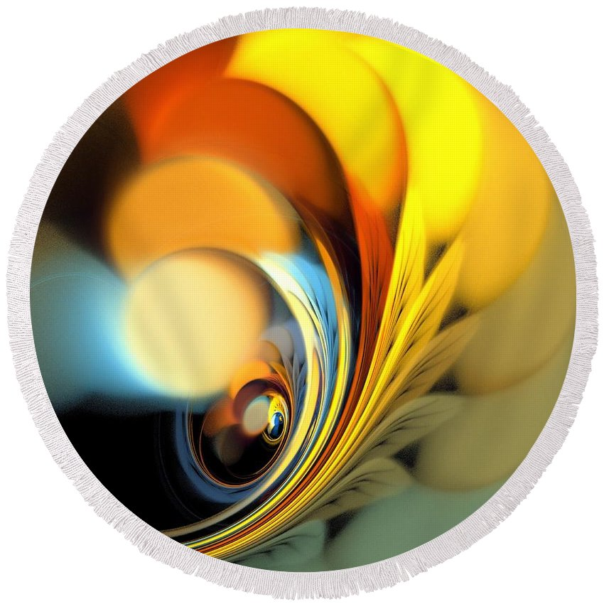 Apophysis Round Beach Towel featuring the digital art Gold Fan Leaves by Kim Sy Ok