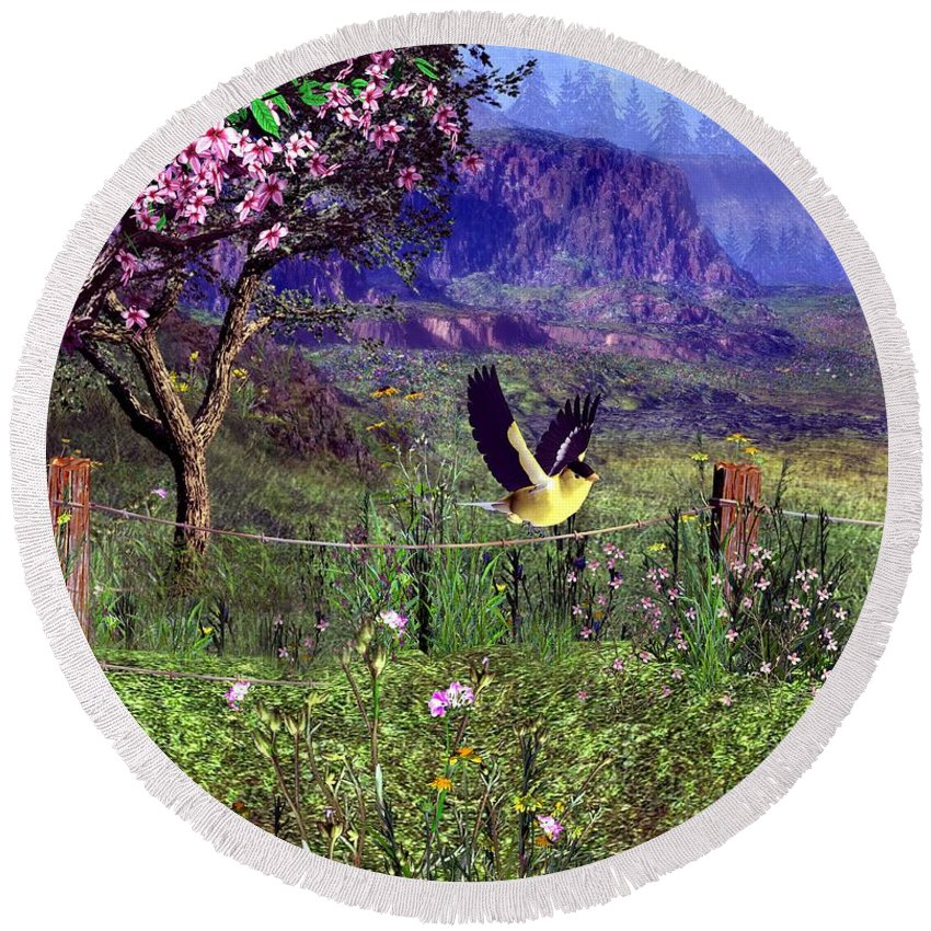 Birds Round Beach Towel featuring the digital art Gold Finch In The Spring Time by John Junek