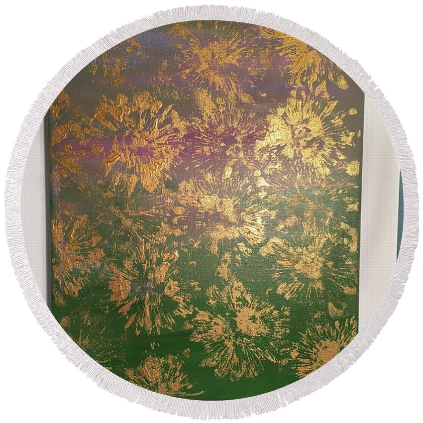 Gold Round Beach Towel featuring the painting Gold Flowers by Taylor Cain