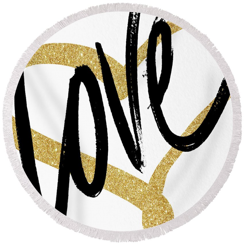Gold Round Beach Towel featuring the painting Gold Heart Black Script Love by South Social Studio