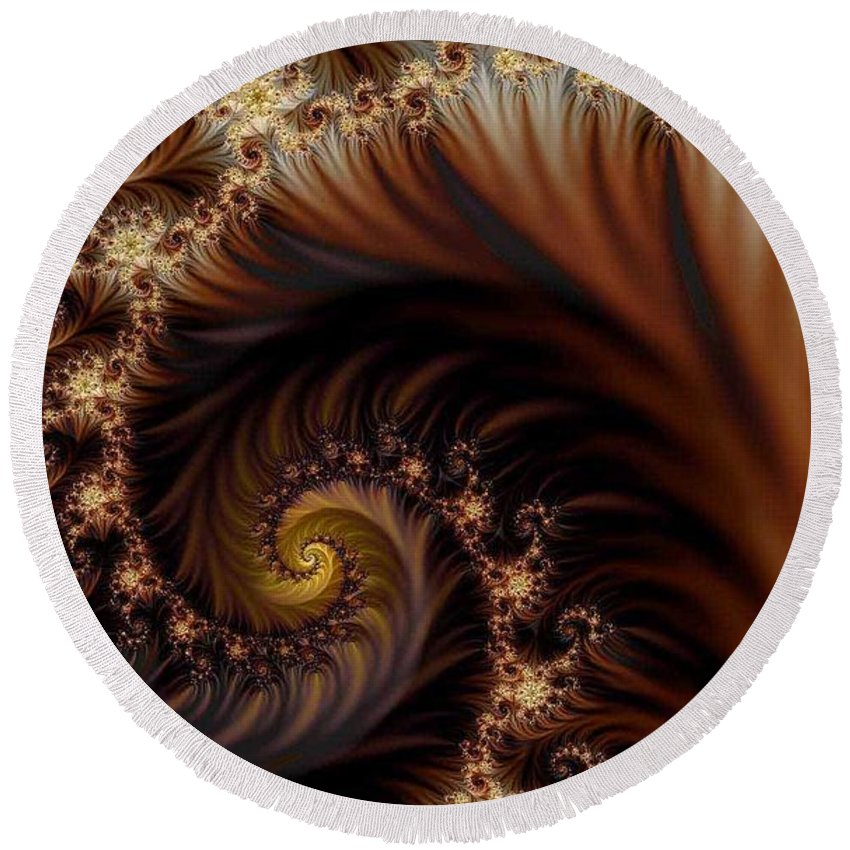 Clay Round Beach Towel featuring the digital art Gold In Them Hills by Clayton Bruster