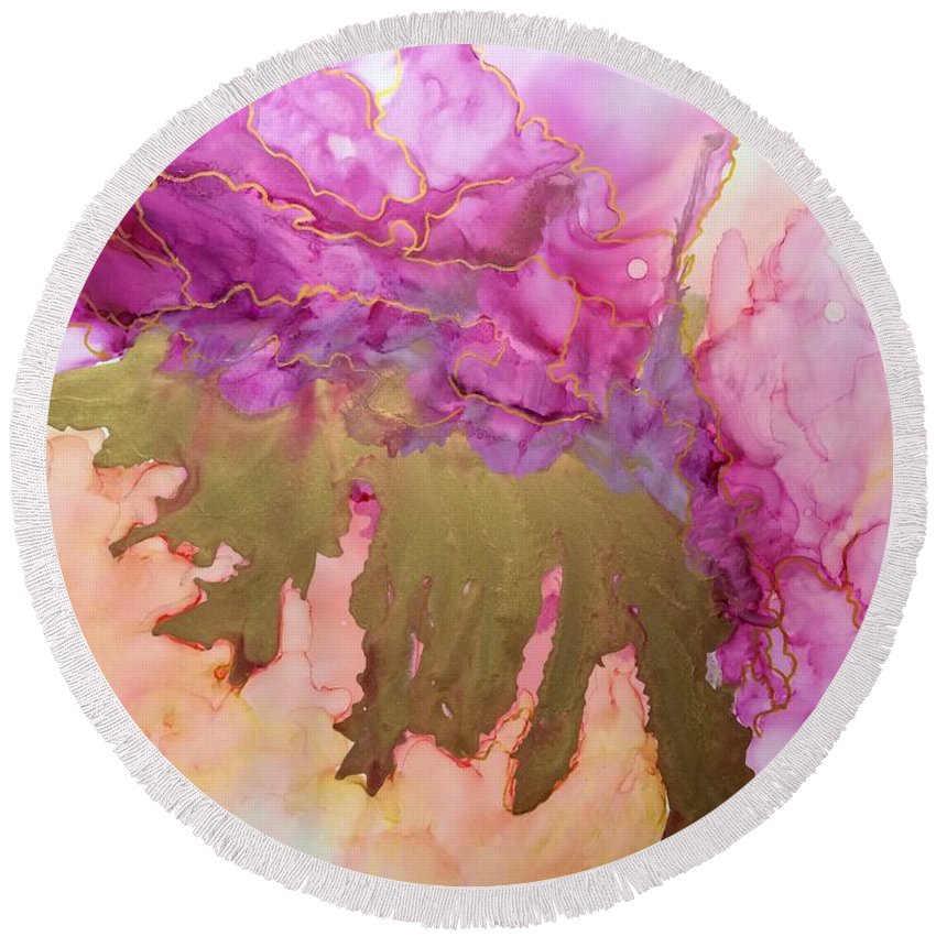 Alcohol Ink Round Beach Towel featuring the painting Gold Leaf by Kellie Chasse