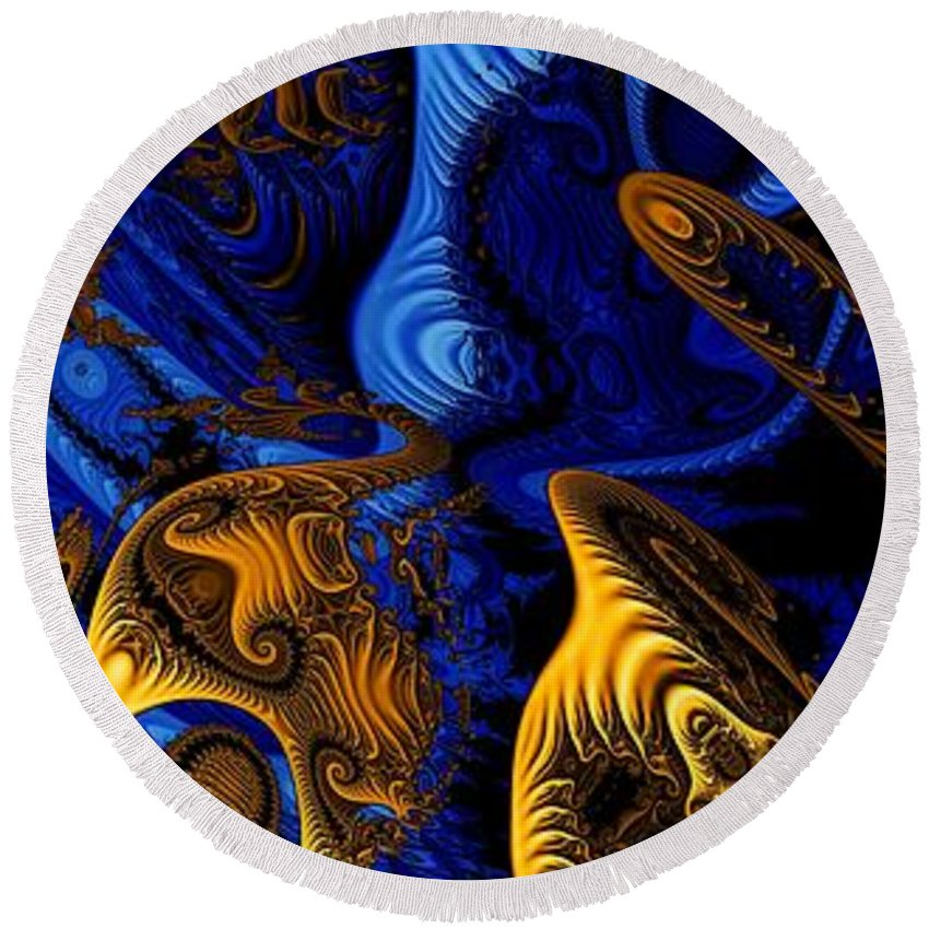 Fractal Art Round Beach Towel featuring the digital art Gold On Blue by Ron Bissett