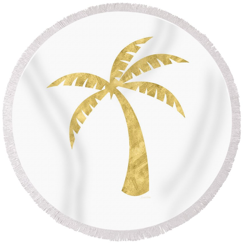 Palm Tree Round Beach Towel featuring the mixed media Gold Palm Tree- Art By Linda Woods by Linda Woods