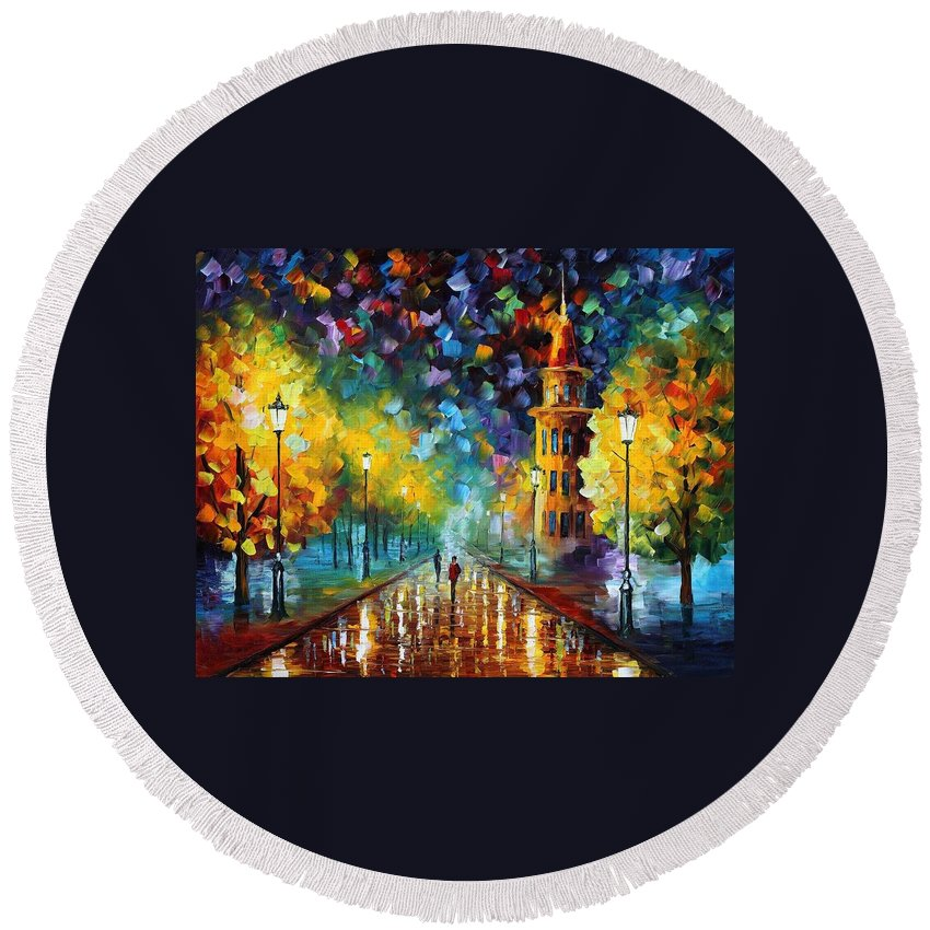 Afremov Round Beach Towel featuring the painting Gold Winter by Leonid Afremov