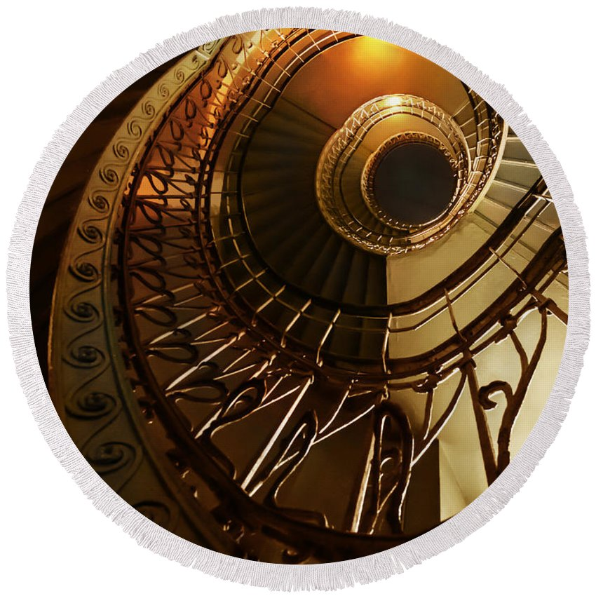 Staircase Round Beach Towel featuring the photograph Golden and brown spiral stairs by Jaroslaw Blaminsky