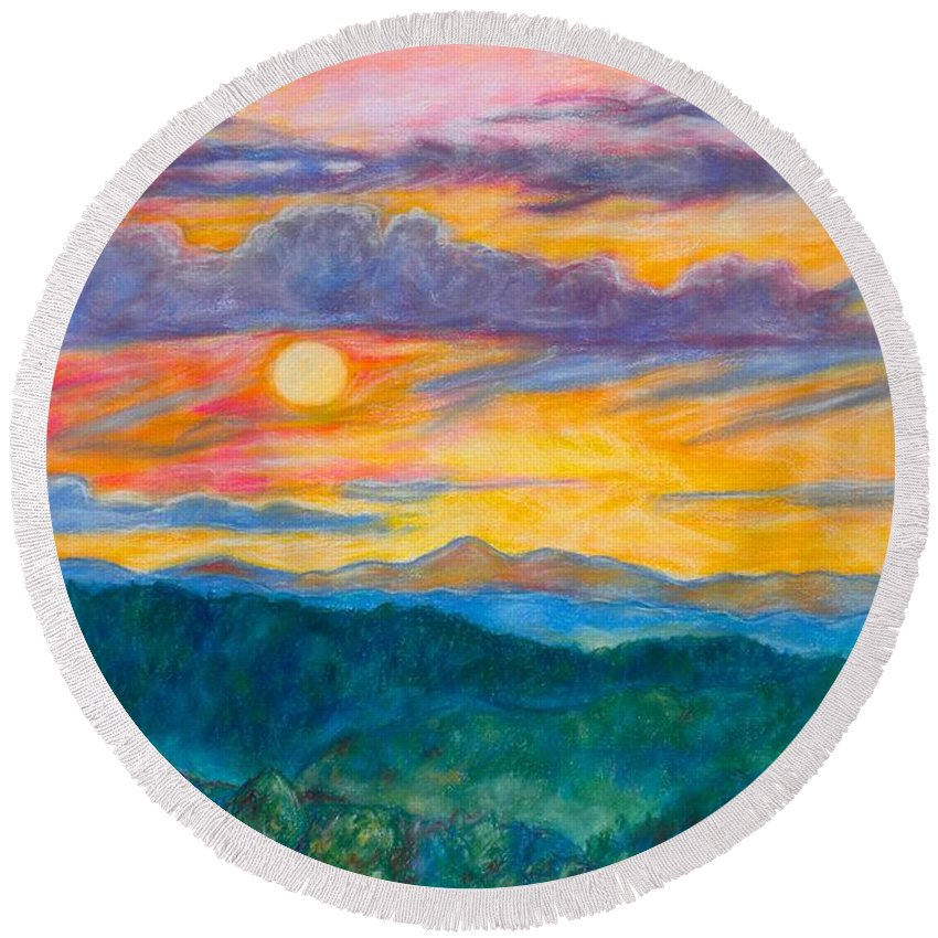 Landscape Round Beach Towel featuring the painting Golden Blue Ridge Sunset by Kendall Kessler