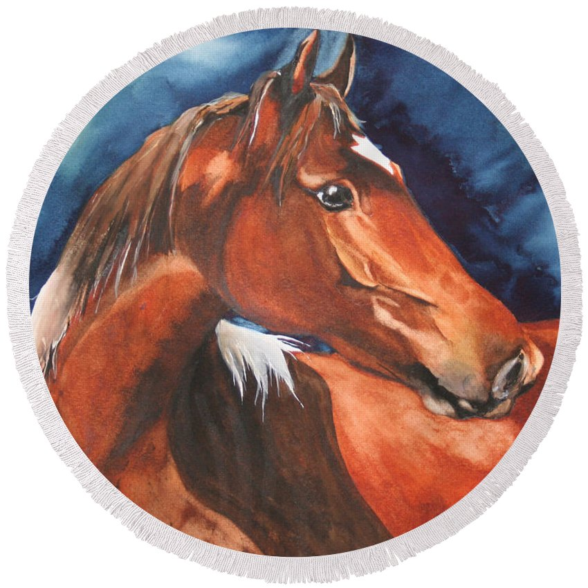 Horse Round Beach Towel featuring the painting Golden Boy by Jean Blackmer