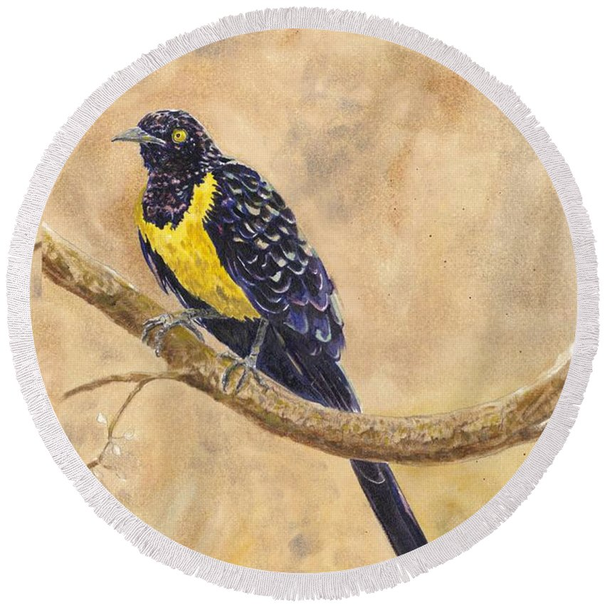 Wildlife Round Beach Towel featuring the painting Golden Breasted Starling by Wayne Monninger