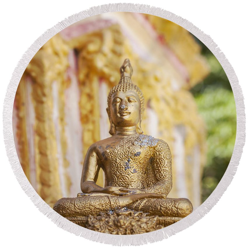 Buddhism Round Beach Towel featuring the photograph Golden Buddha Ornament by Sophie McAulay