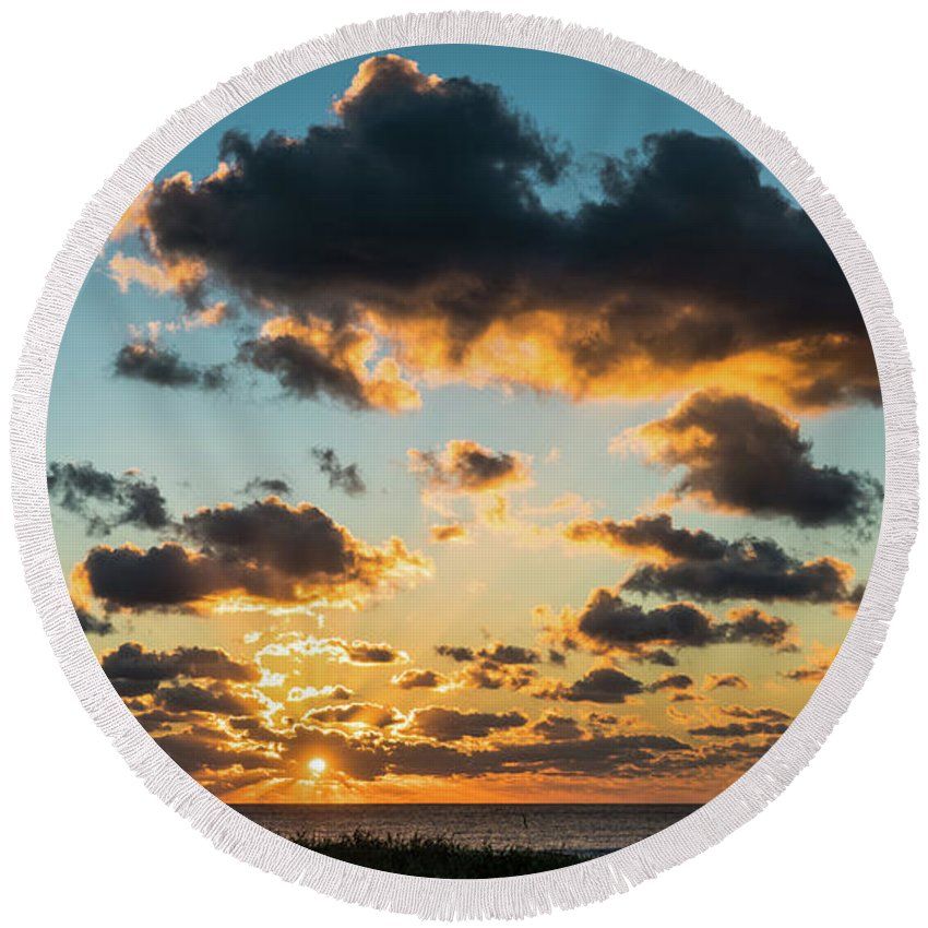 Florida Round Beach Towel featuring the photograph Golden Cloud Sunrise Delray Beach Florida by Lawrence S Richardson Jr