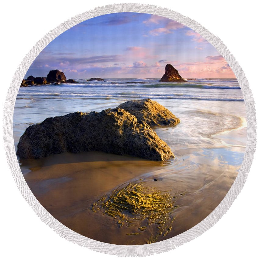 Beach Round Beach Towel featuring the photograph Golden Coast by Mike Dawson