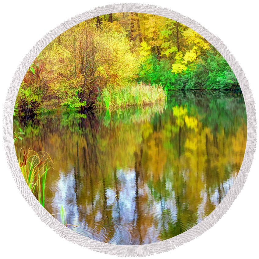 Stream Round Beach Towel featuring the photograph Golden Creek by Jean OKeeffe Macro Abundance Art
