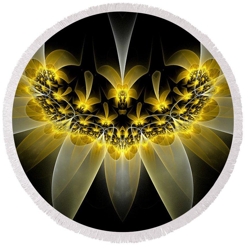 Fractal Round Beach Towel featuring the digital art Golden Daffodils by Amorina Ashton