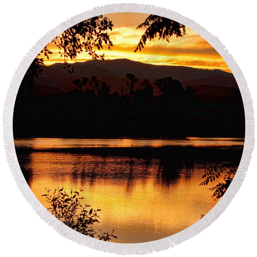Gold Round Beach Towel featuring the photograph Golden Day At The Lake by James BO Insogna