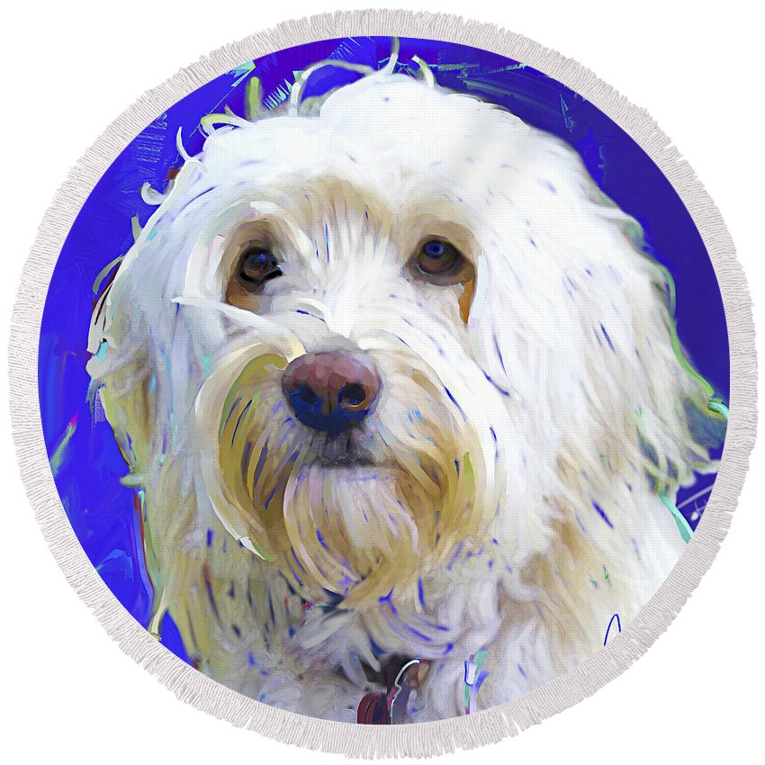 Golden Doodle Round Beach Towel featuring the painting Golden Doodle 4 by Jackie Jacobson