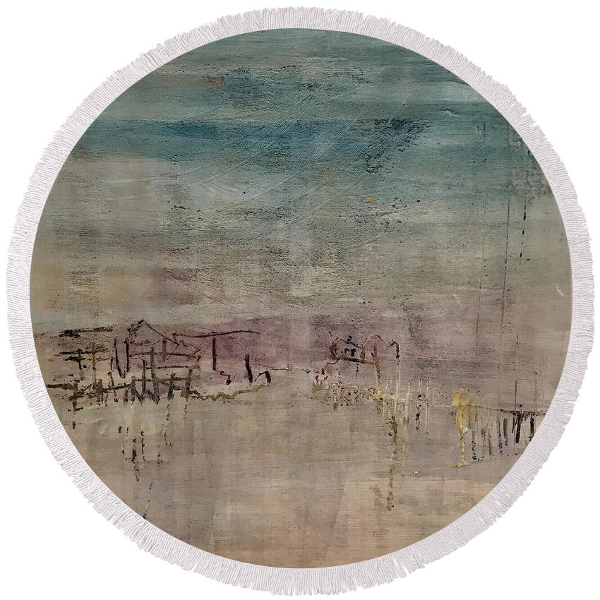 Abstract Round Beach Towel featuring the painting Golden Dusk by Janice Harris