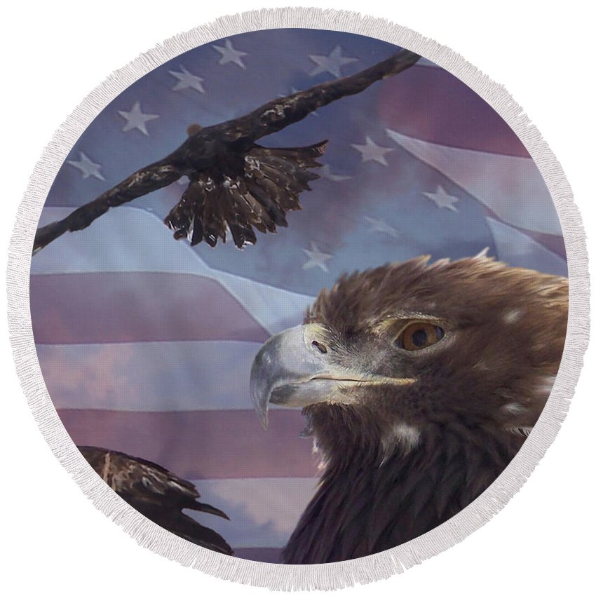 American Flag Round Beach Towel featuring the photograph Golden Eagle Collage by Ernie Echols