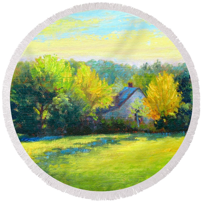 Landscape Round Beach Towel featuring the painting Golden Evening by Keith Burgess