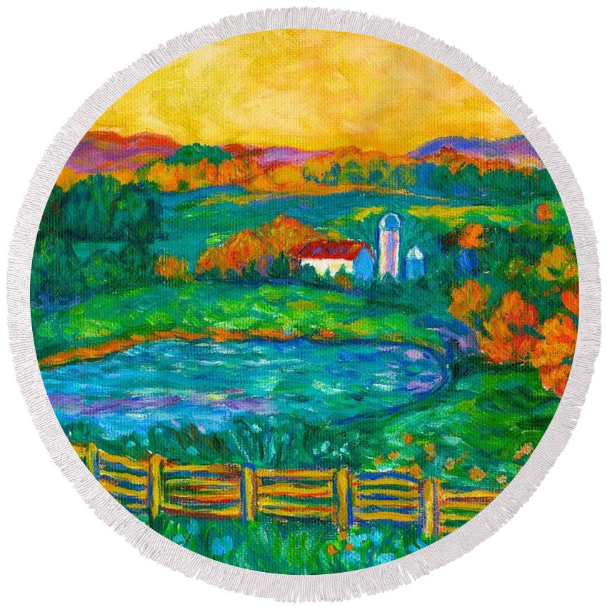 Landscape Round Beach Towel featuring the painting Golden Farm Scene Sketch by Kendall Kessler