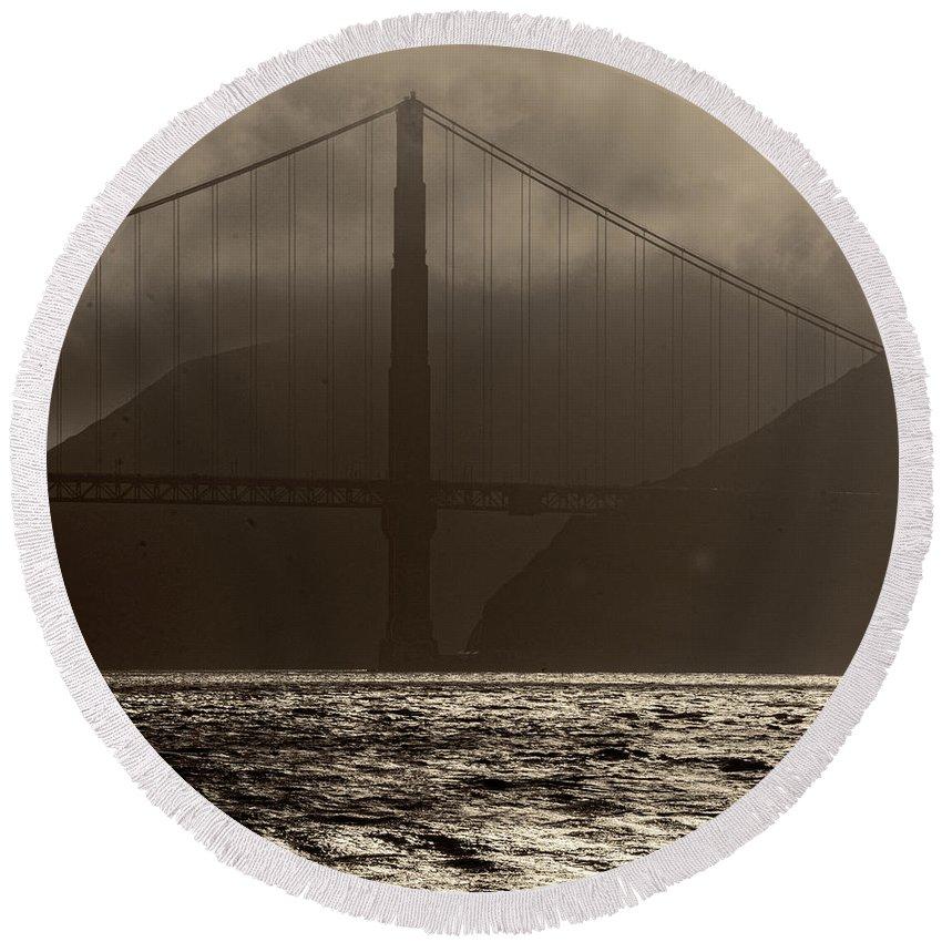 Golden Gate Bridge Round Beach Towel featuring the photograph Golden Gate Bridge In The Fog, Black And White, San Francisco, California by David Oppenheimer
