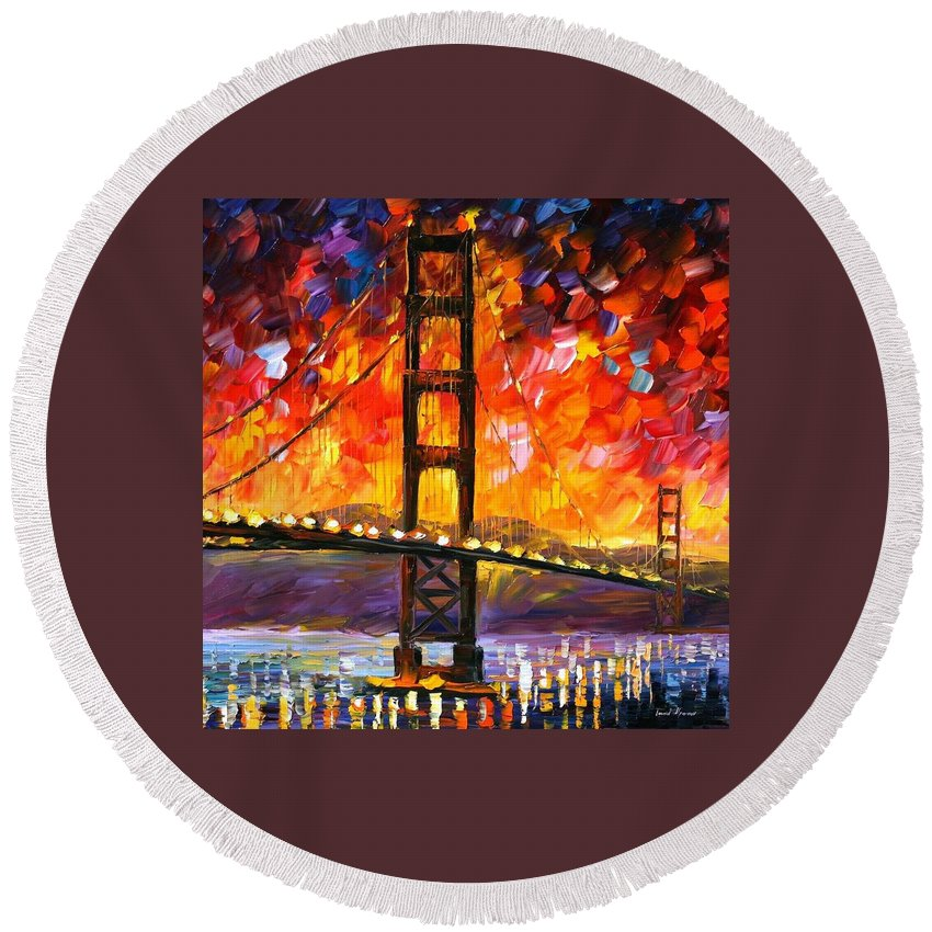 City Round Beach Towel featuring the painting Golden Gate Bridge by Leonid Afremov