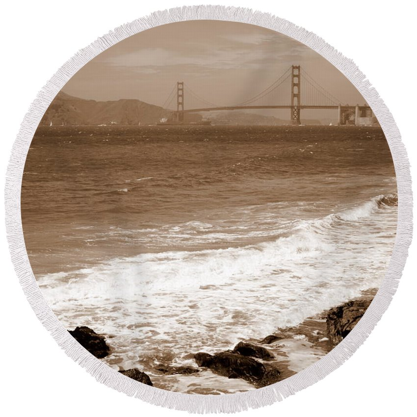 Golden Gate Bridge Round Beach Towel featuring the photograph Golden Gate Bridge With Shore - Sepia by Carol Groenen