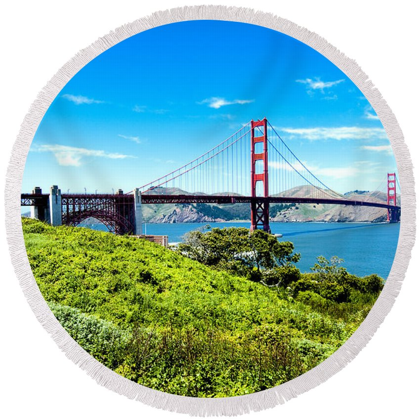 San Francisco Round Beach Towel featuring the photograph Golden Gate by Greg Fortier