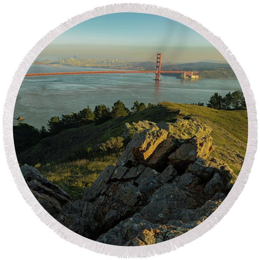 Bridge Round Beach Towel featuring the photograph Golden Gate by Seth Churchill