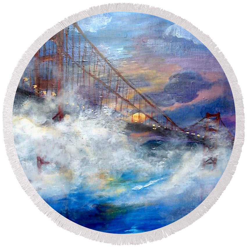 Golden Gate Round Beach Towel featuring the painting Golden Gate Sunset by Travis Day