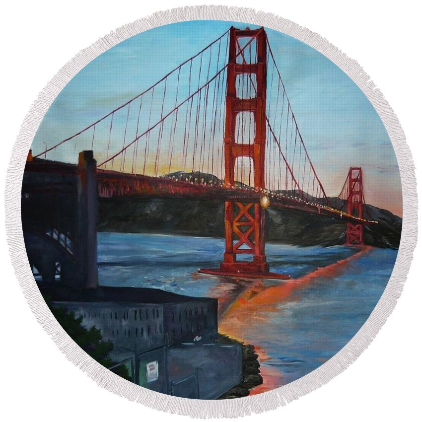 San Francisco Round Beach Towel featuring the painting Golden Gate by Travis Day