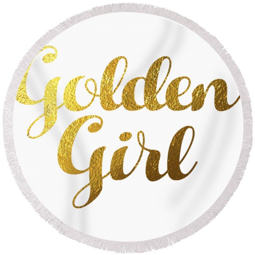 Golden Girl Typography Round Beach Towel