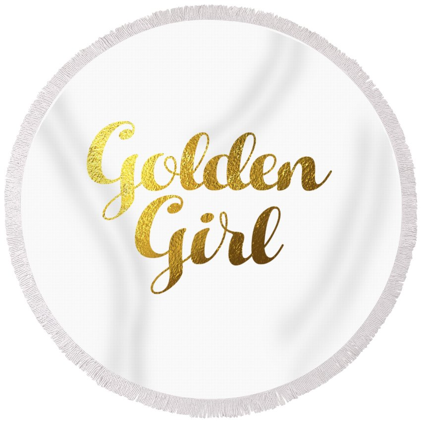 Golden Girl Typography Round Beach Towel