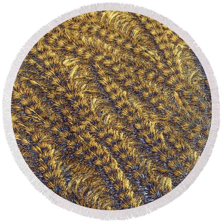 Abstract Round Beach Towel featuring the photograph Golden Grains - Hoarfrost On A Solar Panel by Kim Bemis
