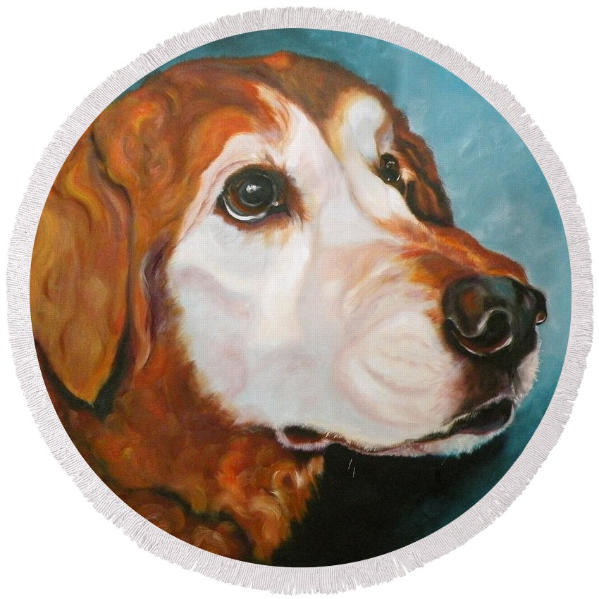 Dogs Round Beach Towel featuring the painting Golden Grandpa by Susan A Becker