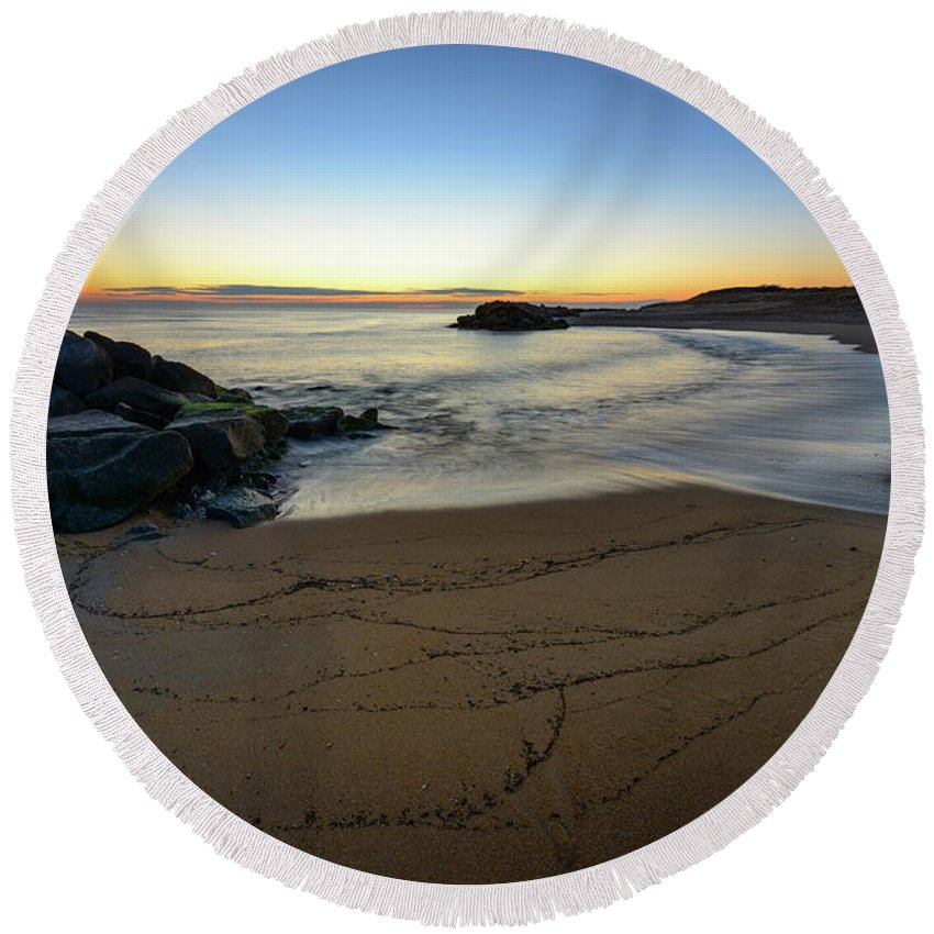 Landscape Round Beach Towel featuring the photograph Golden Hour by Michael Scott