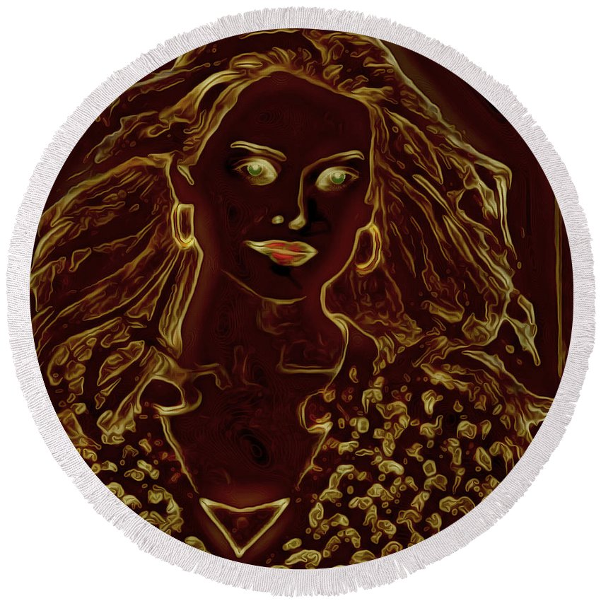 Lady Round Beach Towel featuring the digital art Golden Lady by Ericamaxine Price